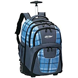 Универсальный школьный рюкзак на колесах Веstway WOSSY XL голубая клетка